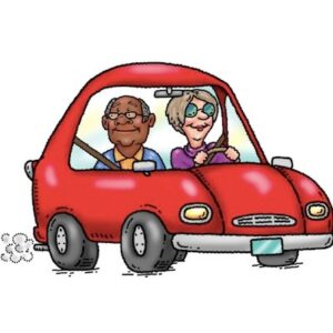 Cartoon image of car with driver and passenger