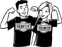 cartoon image of volunteers