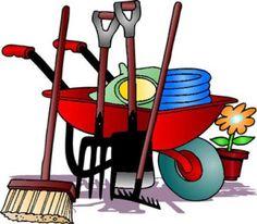cartoon image of wheelbarrow and garden tools