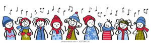 cartoon image of carol singers
