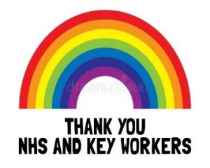 Rainbow with text thanking NHS and key workers