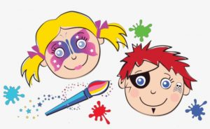 cartoon image of children with faces painted