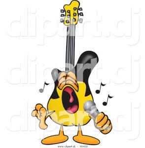 cartoon of singing guitar